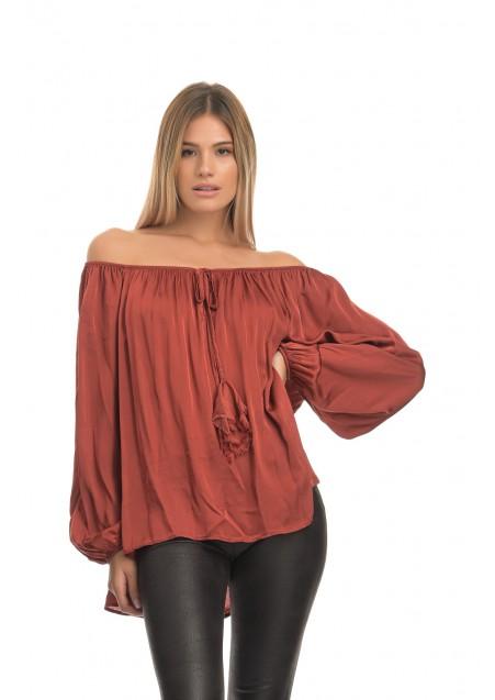 Σατέν βισκόζ off shoulder μπλούζα σε άνετη γραμμή