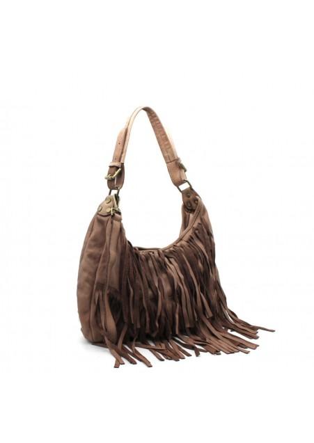 Τσάντα ώμου σε στυλ boho με κρόσσια και μπρονζέ αγκράφες από vintage μαλακό δέρμα
