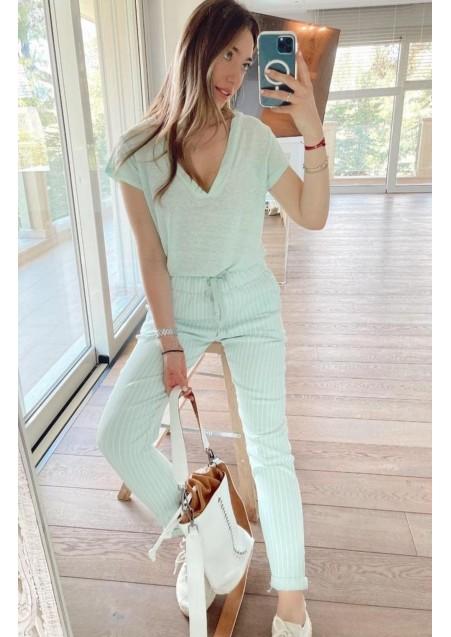 Παντελόνι-φόρμα ριγέ με τσέπες, λάστιχο και ζώνη στην μέση