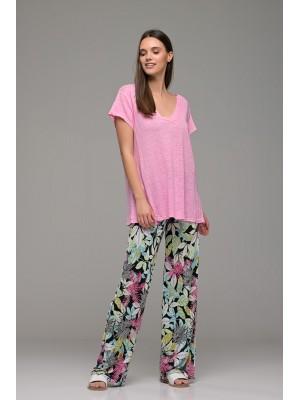 Παντελόνα αέρινη ζέρσευ ελαστική με print floral πολύχρωμο